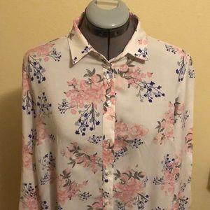 H&M Japan Sakura Blossom Button Down Blouse